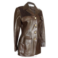 Free shipping Ladies Windproof Slim Long Sleeves Women Button original Leather jacket