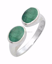 Brazilian Emerald Gemstone Ring Solid 925 Sterling Silver Jewelry IR37817