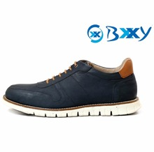MEN'S NAVY BLUE LACE-UP STYLISH CASUAL SHOES ON EVA SOLE