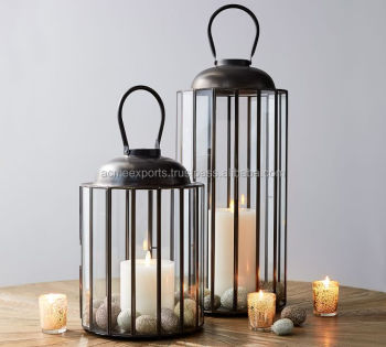 Stainless steel cage design lantern for table top and indoor use