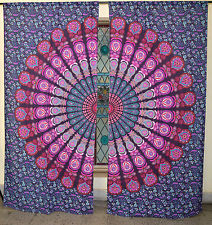 Hippy Pink Indian Mandala Cotton Curtain Handmade Wall Curtain Dorm Window Curtain