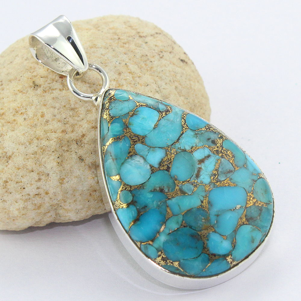 Fire blue copper turquoise jewelry pendant silver jewelry handmade 925 silver pendant jewelry