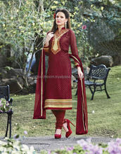 Straight Cut Salwar Kameez Georgette Brasso Embroiderd semi-stitched Dress Material