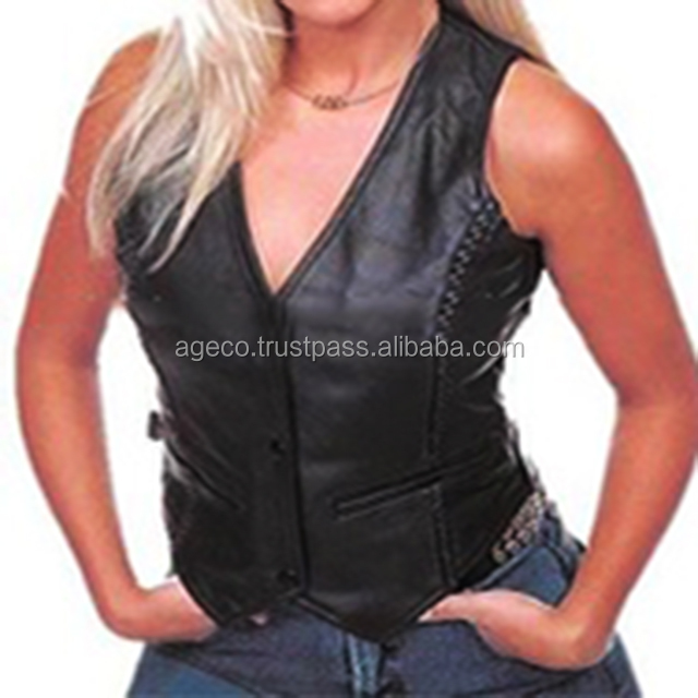 leather motorcycle vest womens leather vests Cowhide biker vest