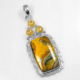 925 Sterling Silver Jewelry Natural Bumble Bee Citrine Fashion Sterling Silver Pendant