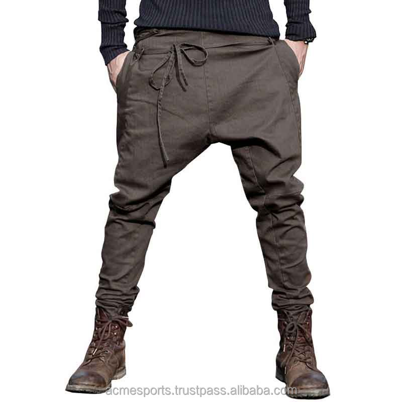 fashion drop crotch jogger pants - Hip hop style custom logo men slim fit jogging sweat pants drop crotch