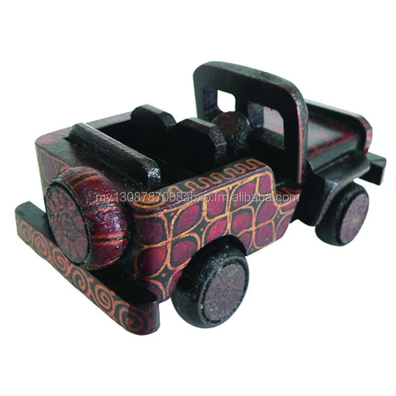 Batik Wood Miniature Vintage Car, Jeep Willys (S)