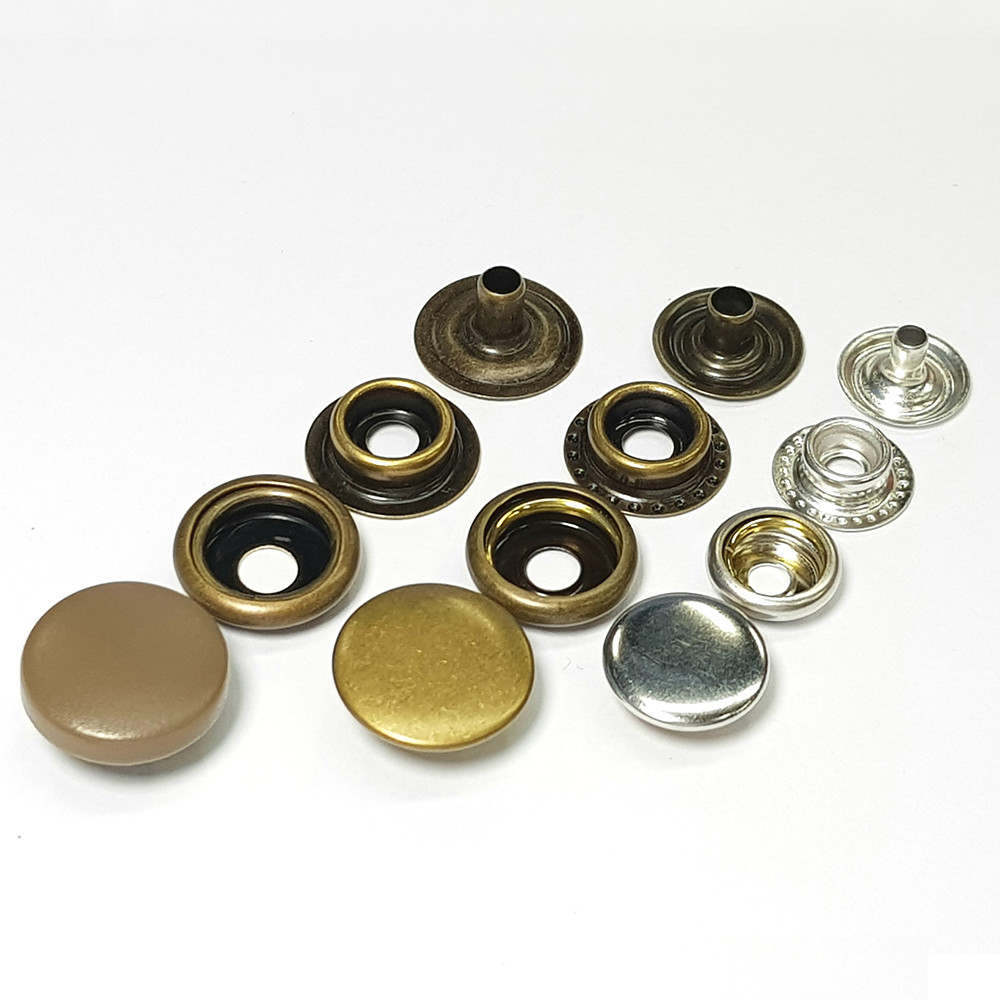 Custom wholesale fashion ring prong pearl four parts press metal snap button