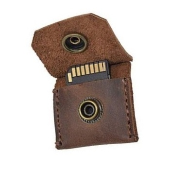Leather Memory Card Holder Case Securely Holds Memory Card