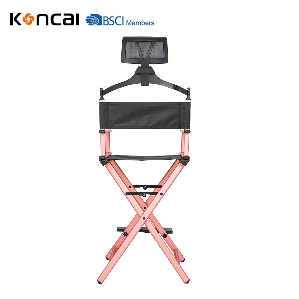 Foldable 1.2mm Pure Aluminum Makeup Chair Beauty Salon Director Chair with Headrest Rose Gold KC-CH03