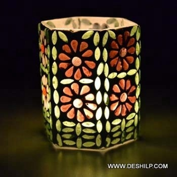 Glass Candle Votive Holder Green And Orange Mosaic