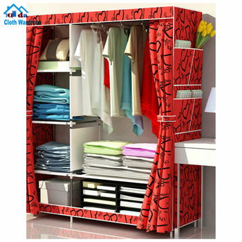 2018 Factory direct Wholesale Cheap Folding closet Foldable Non Woven Canvas cabinet Cloth Wardrobe