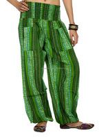 Custom Made Designer Floral Printed Green Cotton ladies Harem Trouser