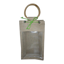 2 Bottle PP Laminated Jute Wine Tote Bag