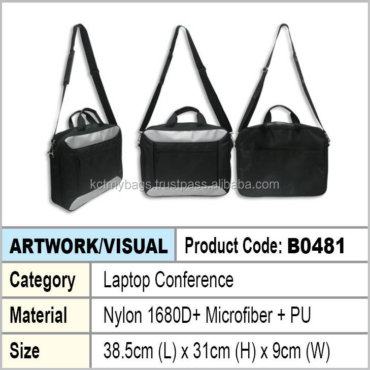 Black Nylon and Silver Microfiber Laptop conference document bag