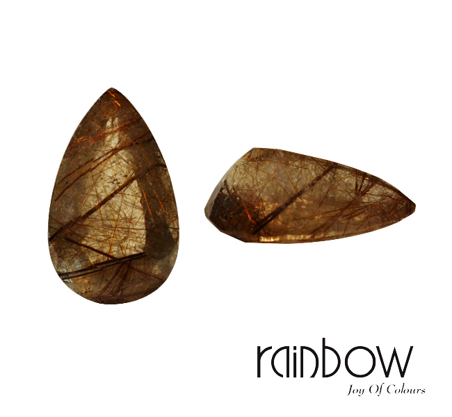 Natural Gemstone - Rutile Rose Pear 35mmx21.50mmx14.80mm(LxWxH) /59.04 Cts Free Shipping with Return & Refund Policy