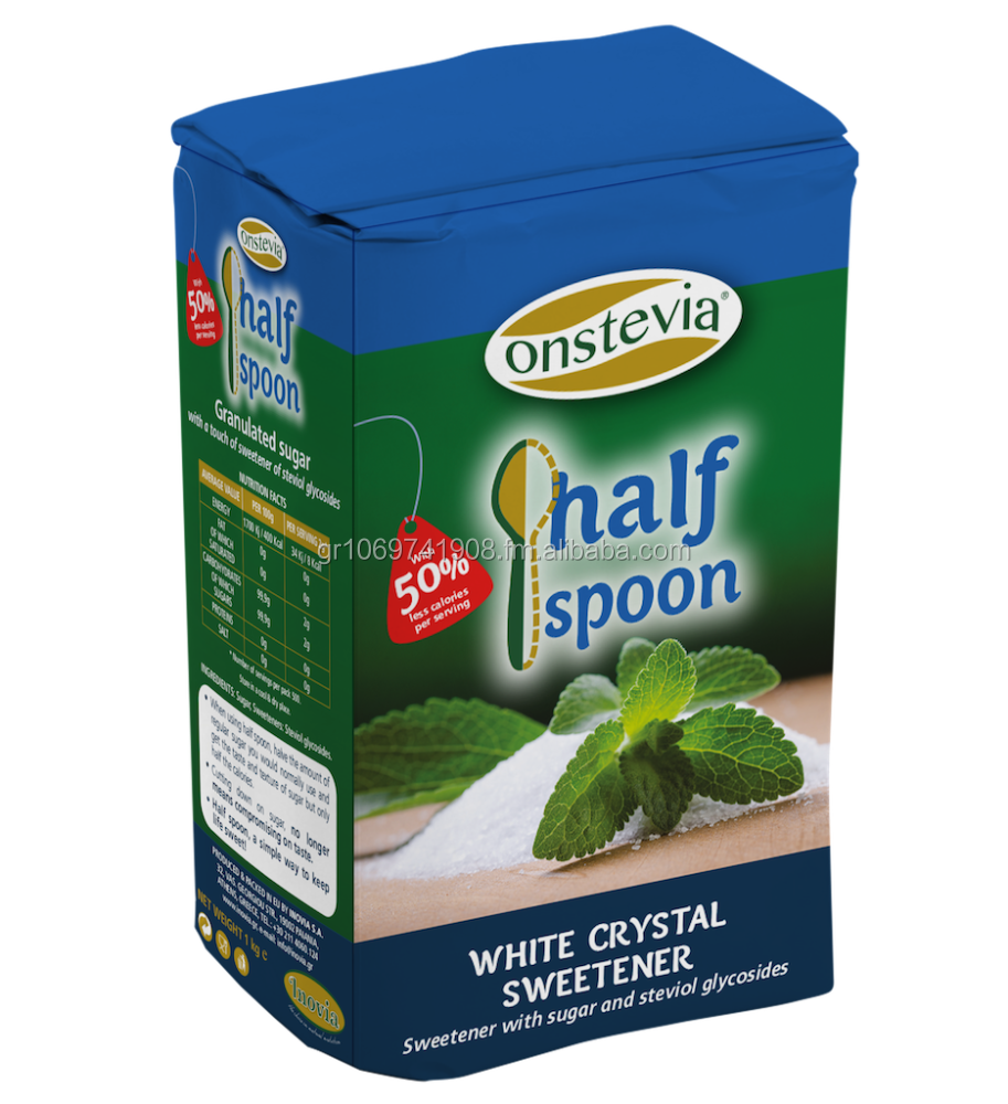 Onstevia Half Spoon Sweetener with Stevia and Crystal White sugar