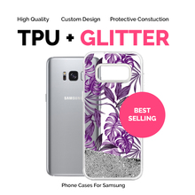 Cell Phone Clear Transparent TPU Wallet Case for Samsung Galaxy s9 s9+ s8 s8+ with Liquid Glitter and Custom IMD Print Bulk OEM