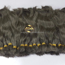 Natural human bulk human hair body wave brazilian gray hair weave, Cuticle aligned hair extension