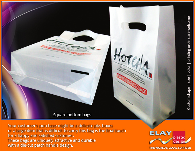 Highest quality lowest price Square bottom side gusset plastic bags with patch handle