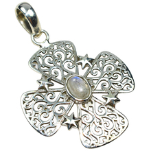Natural Flower Shape Rainbow Moonstone 925 Sterling Silver Pendant, 925 Sterling Silver Jewelry, 925 Wholesale Silver Jewelry