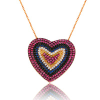 Colored Stones Nailed Silver Heart Necklace