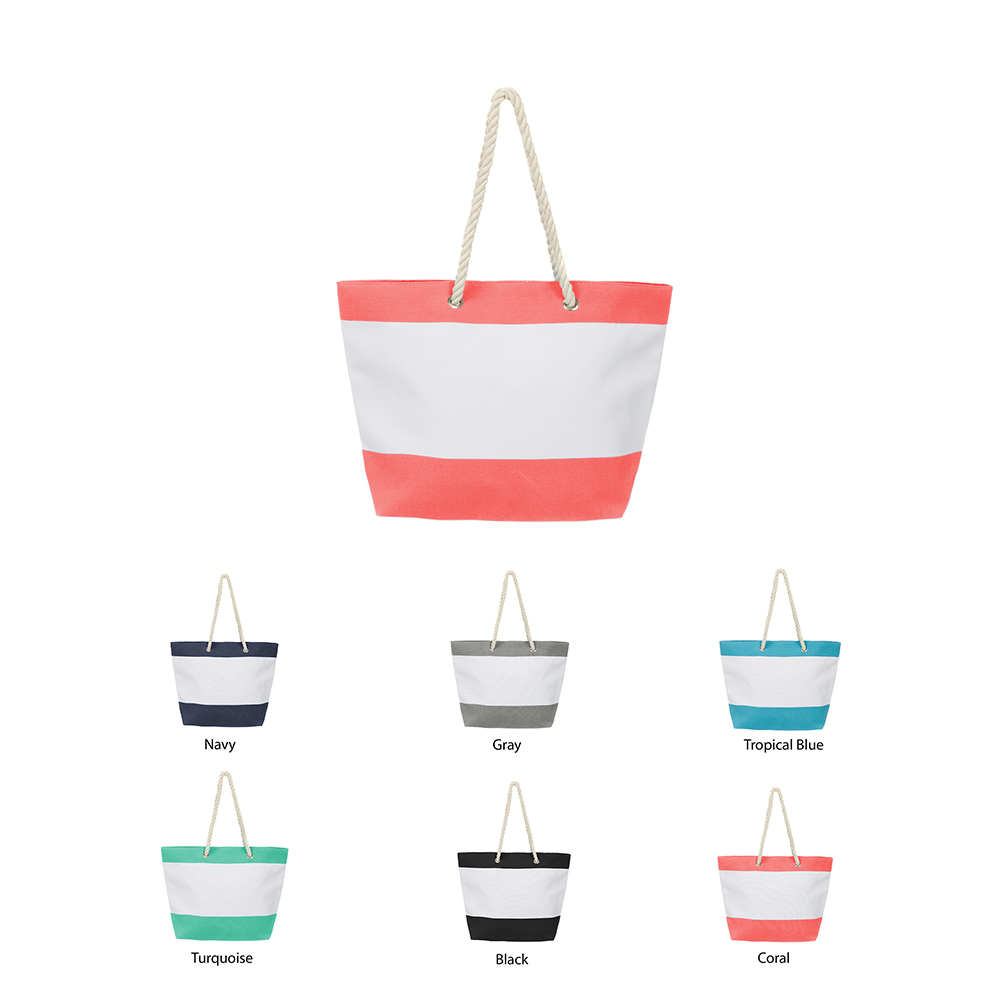 Large Cotton Canvas Beach Tote Bag, Water Resistant