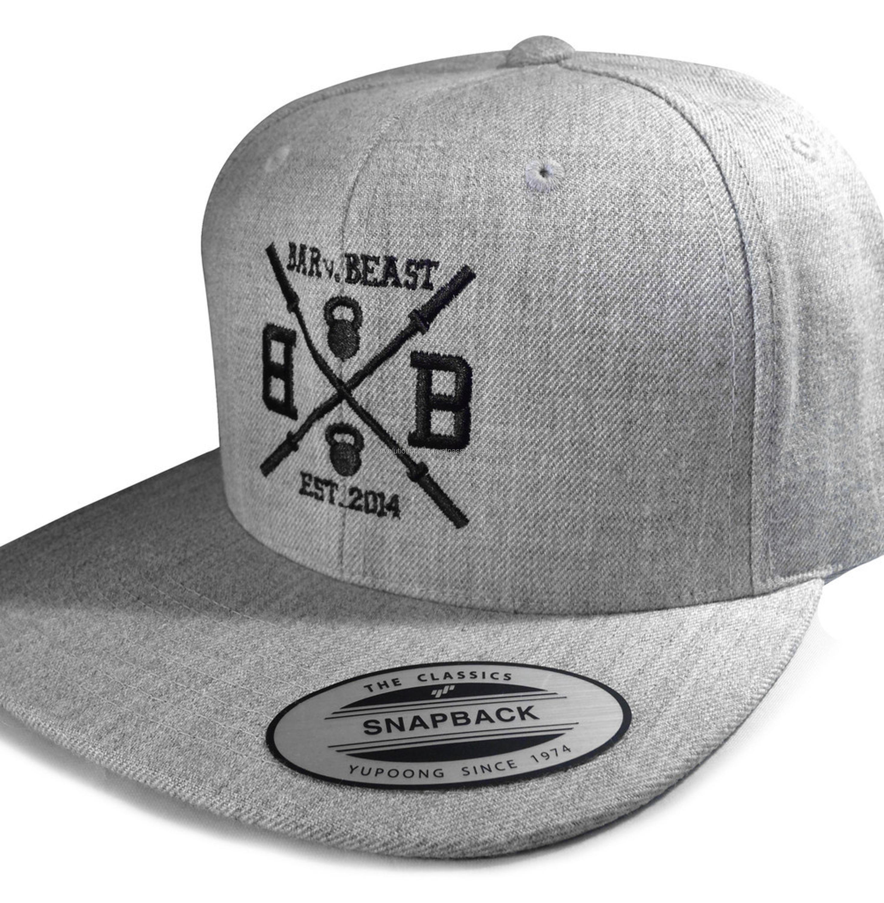 2018 New arrival Grey sports caps/snap backs with Custom logo For Brand promotion