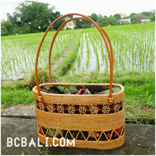 ethnic style balinese tote bag ladies with grass straw rattan handwoven