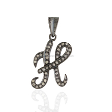 "Initial ""H"" Pendant 0.42ct Natural Diamond .925 Sterling Silver Handmade Jewelry"