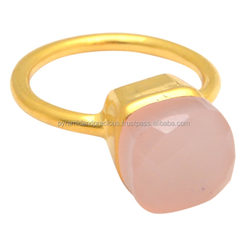 Pink Chalcedony Gold Vermeil Pameletive Shape Gemstone Ring - Stone Ring For Men