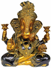 Hindu Lord Shri Ganesh With Turban Twisted Trunk Without Base Antique Finish 17""