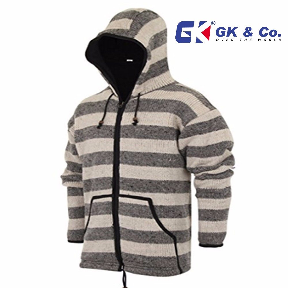 WOOLEN JACKET - FLEECE LINED - KNITTED PATCHWORK