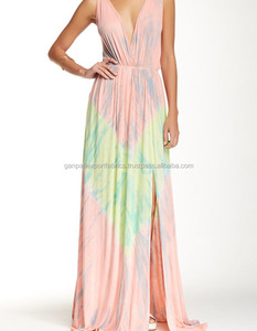 Women New Summer Tie-Dye Empire Waist Maxi Dress