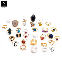 Natural gemstones & druzy stones bezel setting metal plated fashion jewelry band rings for women