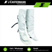 White Split Leather Welding Shoe Covers, Welding Workplace Safety Over Shoes with Straps Fastening