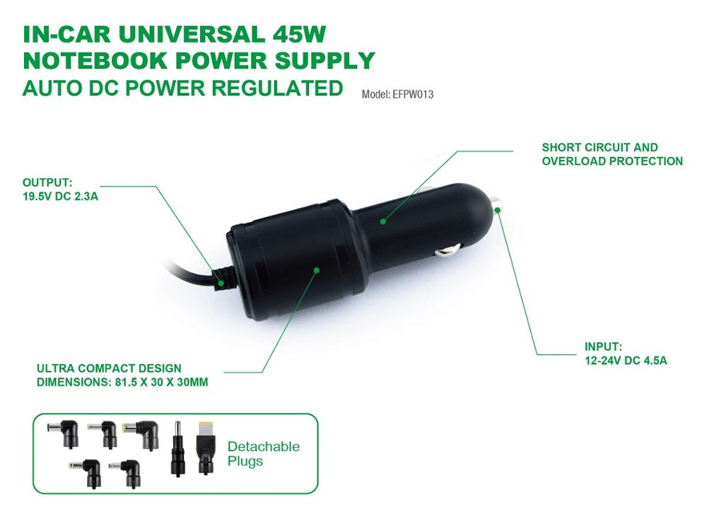 45W Car power Universal Notebook Charger with interchangeable plugs