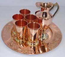 Copper Drinking Glass Set with Decanter & tray