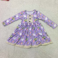 wholesale fall clothing easter bunny baby girls long sleeve dresses children's lace dress