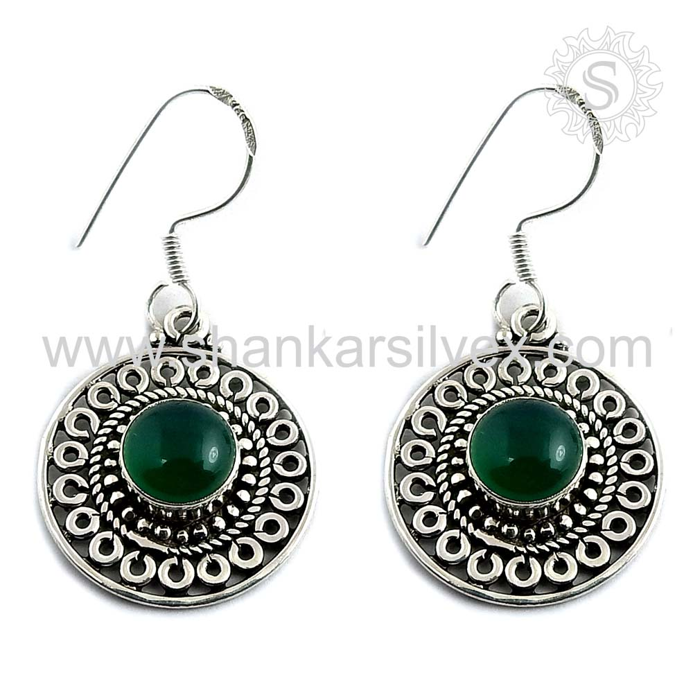 >>> TRYME glazed green onyx silver earring jewelry 925 sterling gemstone silver earrings handcraft jewelry manufacturer