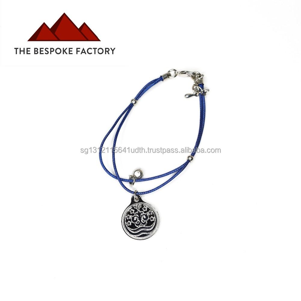 Blue rope string bracelet with customisable metal charm