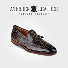 Crocodile Leather Tassel Mens Loafer Dress Shoes