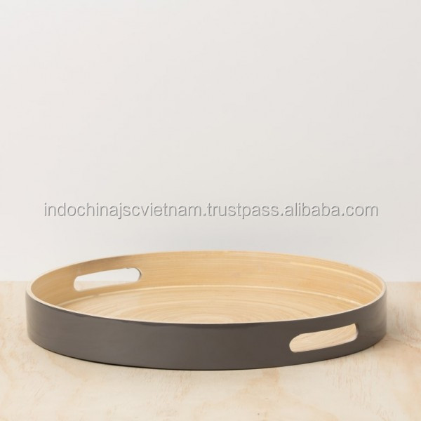 Round Lacquered Vietnamese Bamboo Serving Tray With Handles