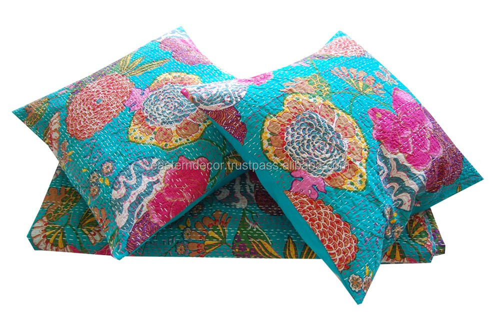 Floral Decorative Kantha Cushion Pillow Cover Handmade Throw Indian Art