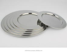 Wholesale Cheap Silver Metal Stainless Steel Dinner Charger Plates
