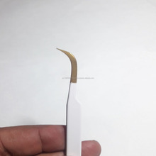 Gold Plated Tip Eyelash Extensions Strong Curved Tweezers for 3D 6D Volume Lashes / Eyelash Extension Tweezers