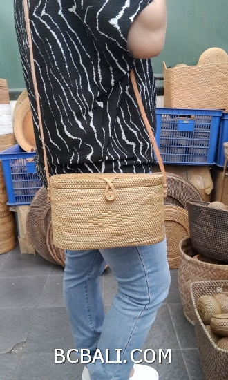 rattan hand woven bags handmade long handle leather