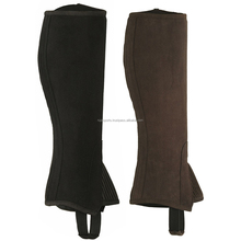HORSE RIDING ADULTS/CHILDREN HALF CHAPS BROWN AMARA SYNTHETIC LEATHER-ALL SIZES