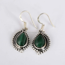 Latest design malachite gemstone 925 sterling silver earring