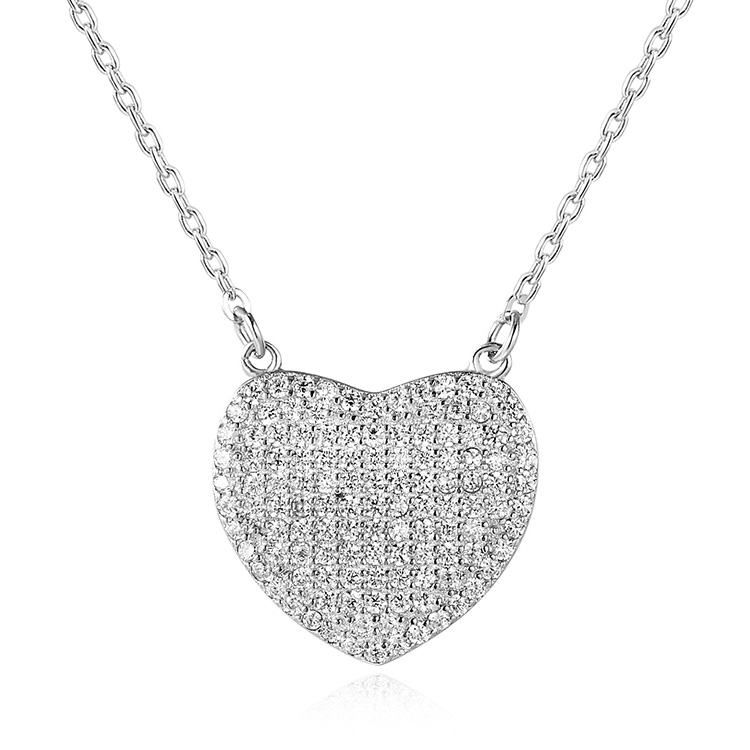 Simple style <strong>fashion</strong> 925 sterling silver zircon diamond love heart statement necklace